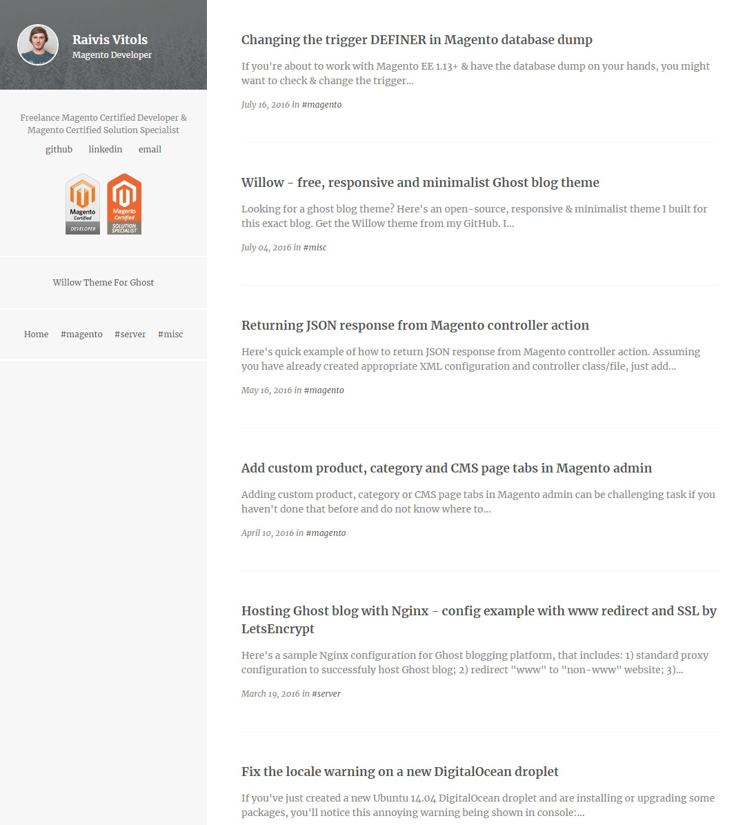 responsive and minimalist theme for Ghost blogging platform