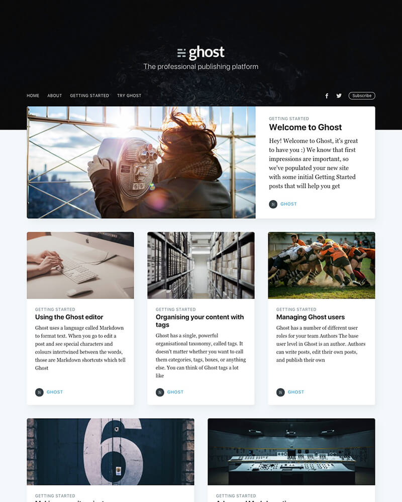 The default personal blogging theme for Ghost