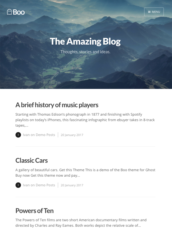 A beautiful, clean and responsive theme for Ghost