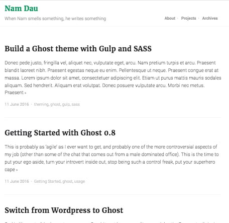 A minimal content-focused responsive theme for Ghost