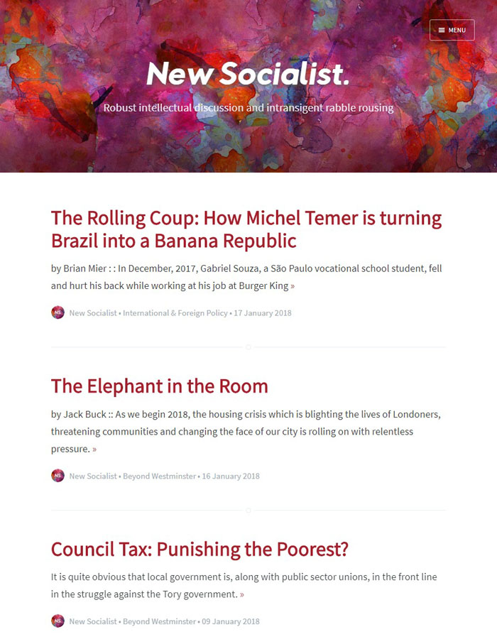 Newsoc - Ghost theme for New Socialist