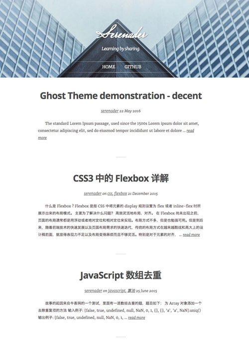 A Ghost blog theme modified from Casper