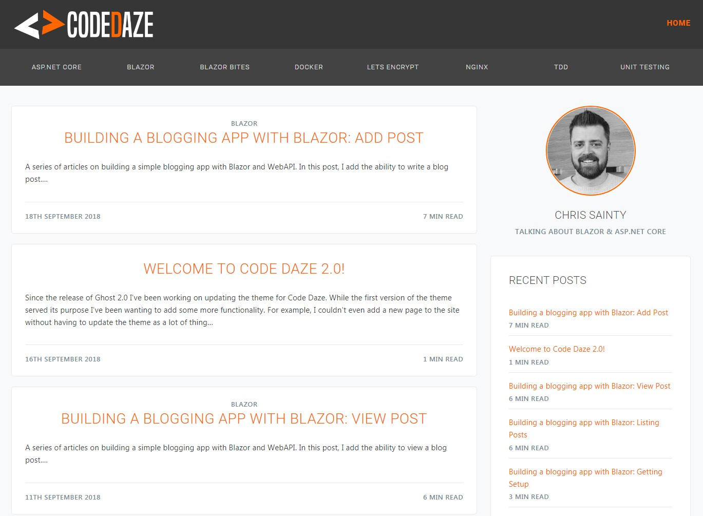 Ghost blog theme for Code Daze