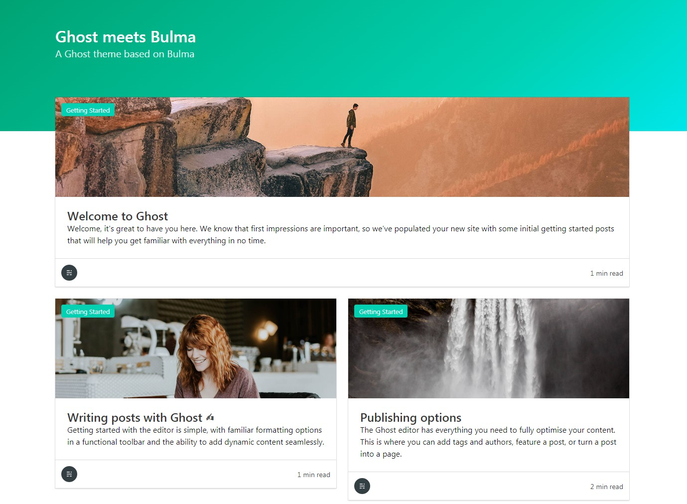 Bulma theme for the Ghost blogging platform
