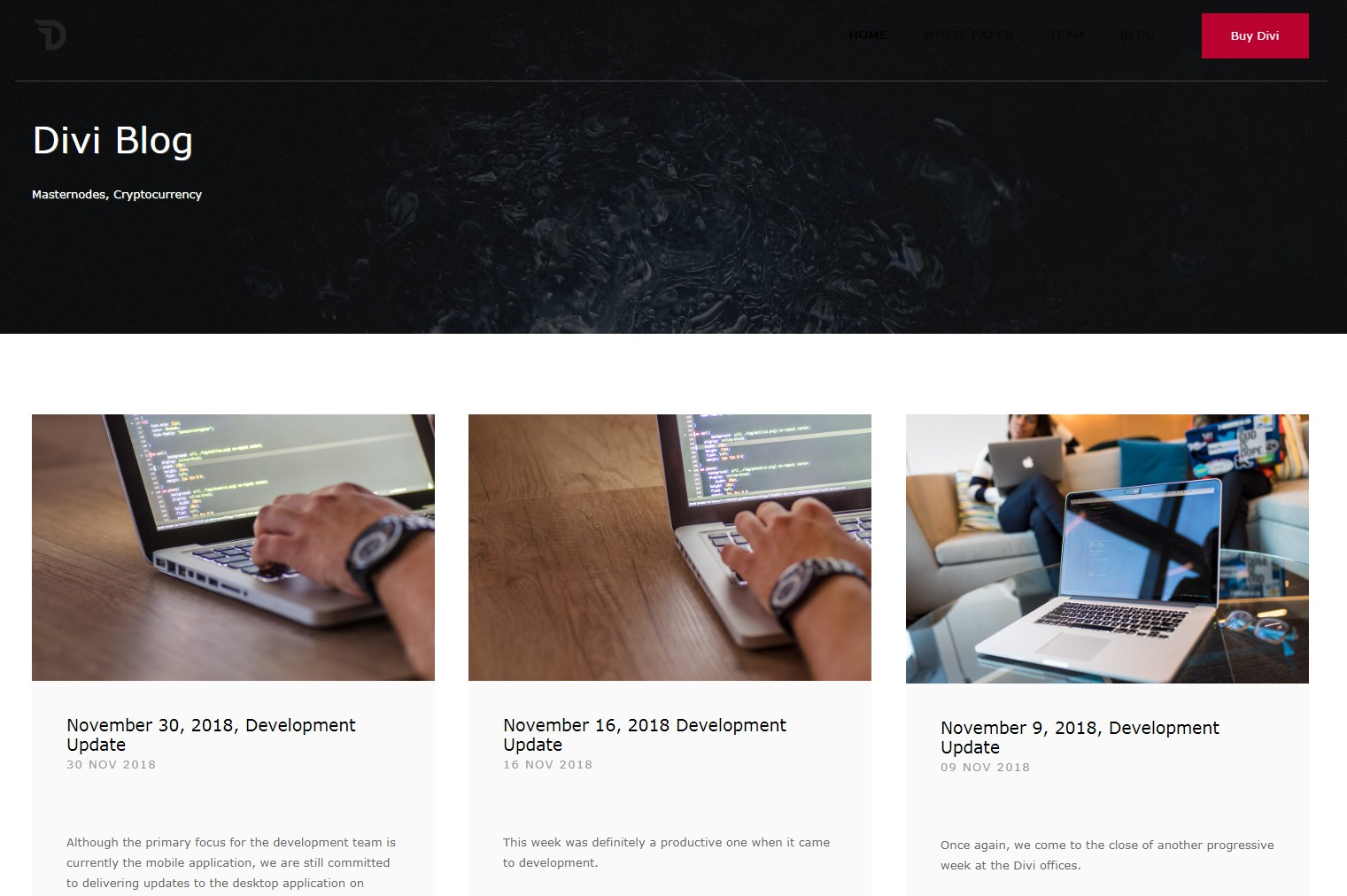 Ghost theme for the Divi Blog