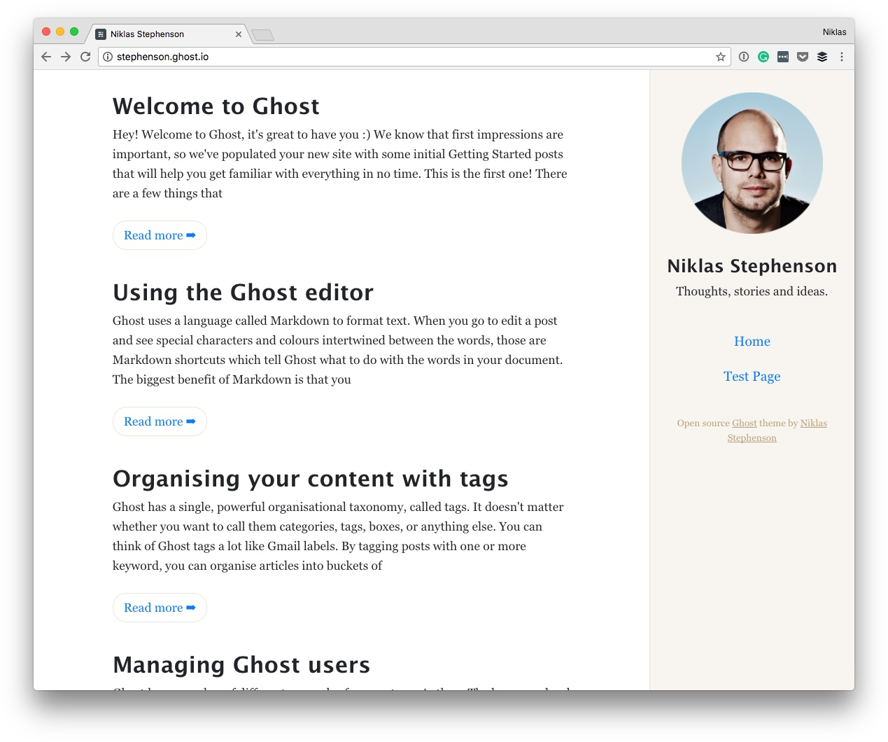 Blogging theme for Ghost with focus on the content